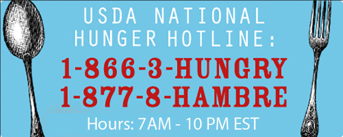 USDA hunger hotline 866-348=6479